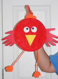 Little Red Hen paper plate craft.