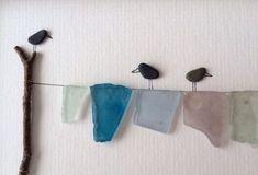 schöne vögel - kieselstein dekoration