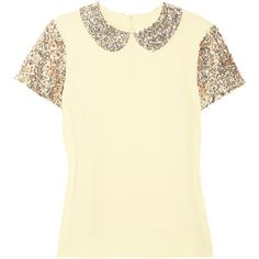 By malene birger cream ilyas top. Crepe. Bronze and silver sequined peter pan collar and sleeves. Button-fastening keyhole at back. 100% Viscose. Dry clean. De…
