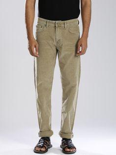 Buy GANT Beige Tyler Fit Corduroy Trousers - Trousers for Men | Myntra