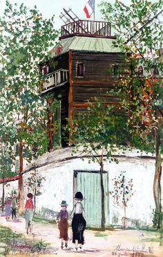 The Moulin de la Galette, Montmartre by Maurice Utrillo (French 1883 - 1955)  #Paris