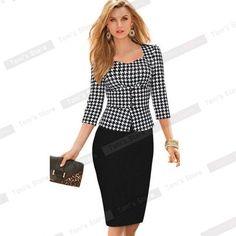 Nice-forever Plaid Sheath Work Dress Square Neck Women Button Fashion Elegant Houndstooth 3/4 Sleeve Female Pencil Dress B240