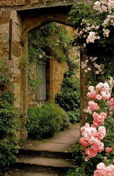Secret garden hideaway with climbing roses