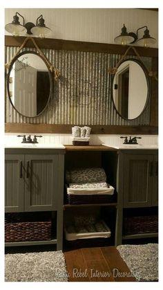 Rustic Bathroom Designs, Rustic Bathroom Vanities, Rustic Bathroom Decor, Modern Bathroom, Bathroom Ideas, Vanity Bathroom, Bathroom Wall, Bathroom Makeovers, Bathroom Cabinets