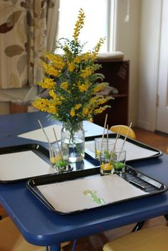 watercolor flowers...use plastic trays for work space