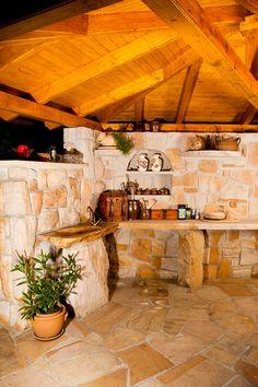 Grilovací dům obr.7 Outdoor Living Rooms, Brick Design, Outdoor Kitchen Design, Barbecue, Interior, Home Decor, Gardening, Water Sources, Gardens