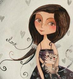 With cat | Women - art