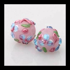 2PCS Glass Beads Artisan Murano Glass Lampwork by Girljewelrybox