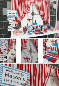 cat in the hat party - Yahoo Image Search Results Book Birthday Parties, Dr Seuss Birthday Party, Birthday Party Decorations, Birthday Ideas, Twin Birthday, Party Favors, Cat In The Hat Party, Dr Seuss Crafts, Grinch Christmas Party