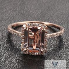 Emerald Cut Morganite Diamond Pave Halo Rose by IturraldeDiamonds