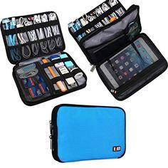Universal Double Layer Travel Gear Organiser / Custodia da viaggio universale per dispositivi elettronici e accessori (M, Blue)