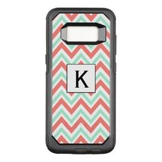 Monogram Coral Pink and Mint Green Chevron Pattern OtterBox Commuter Samsung Galaxy S8 Case