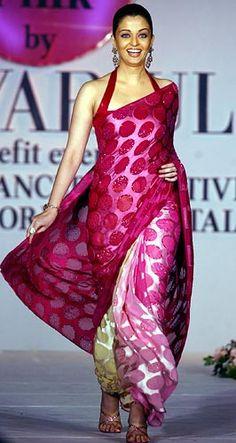 Timeless Elegance of the sari.  This piece as worn by Aishwariya  Rai Bachan shows it's enduring grace.