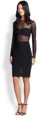 $275, Black Polka Dot Mesh Party Dress: Bec