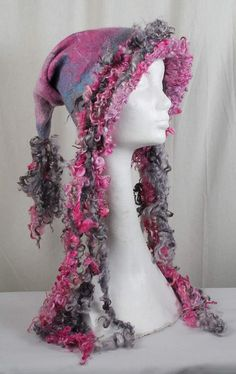 Felted hat with handspun locks handmade