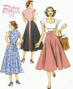 1950s Dress Butterick Sewing Pattern B6212 Womens by CloesCloset