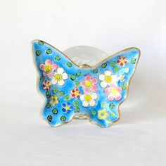 Hand Painted Ring Dish  Tray Plate  Bowl  Sky Blue by DayJahView