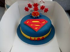 30th birthday cake with superman logo and exploding stars