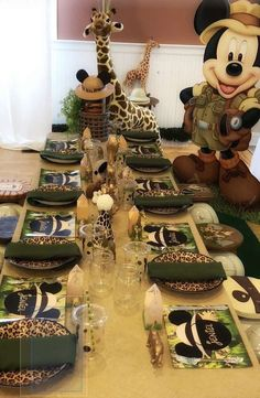 My Little Angel Decorations 's Birthday / Mickey Mouse Safari - Photo Gallery at Catch My Party Safari Birthday Cakes, Jungle Theme Birthday, Safari Cakes, Wild One Birthday Party, Safari Birthday Party, Mickey Party, Second Birthday Ideas, Mickey Mouse Birthday, 1st Boy Birthday