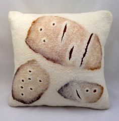 "Hand felted abstract cushion 'Tracks', approx. 16"" x 16"" (40.5 cm x 40.5 cm).. $95.00, via Etsy."