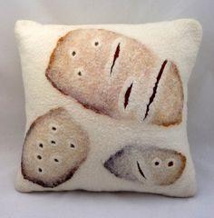 "Hand felted abstract cushion 'Tracks', approx. 16"" x 16"" (40.5 cm x 40.5 cm).. $95.00, via Etsy."