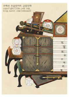 전통민화_제9회 대한민국 민화대전 공모전 우수상의 애담 (8폭 책거리도) : 네이버 블로그 Traditional Art, Oriental, Korea, Clock, Japan, Painting, Home Decor, Composition, Illustration