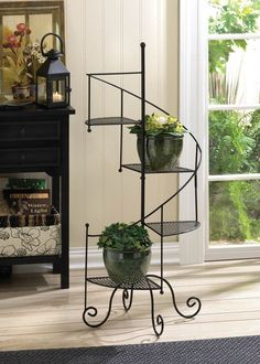 """METAL SPIRAL STAIRCASE STYLE SHOWCASE DISPLAY PLANT STAND 39"""" TALL NEW~10015964"""