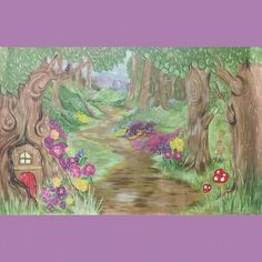 fantasy forest mural for The plan a party companys fairy party