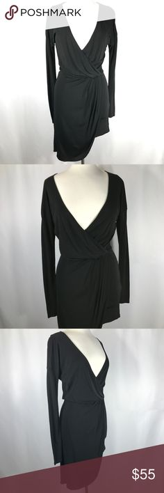"""HAUTE HIPPIE Black Asymmetrical Hem Wrap Dress HAUTE HIPPIE Black Asymmetrical Hem Wrap Long Sleeve Plunge Neck Dress Size XS  Measurements Approx (Lying Flat) Labeled: XS Armpit to Armpit: 18"""" Shoulder to Shoulder: 20""""  Sleeve: 20.5"""" Length: 31"""" Waist: 13""""  Condition: Excellent condition.     If you have any questions, don't hesitate to contact me! Haute Hippie Dresses Long Sleeve"""