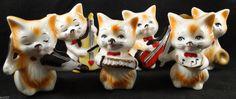 6 Vintage Cat Figurine Band Instruments Lot FREE by KRCsCloset