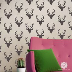 Deer heads and deer antlers in home decor is so on trend right now! Make your wall decor modern and colorful or rustic and neutral! Decorate an accent wall in the bedroom or kids room with our Buck Forest Bonnie Christine Wall Stencil from Royal Design Studio