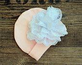 Newborn Hat,  Baby girl Hat, Organic Cotton Hat, Organic Cotton Baby girl Hat, Newborn Infant Hat, Hospital baby girl hat, pink girl hat