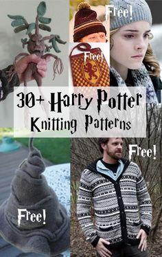 Harry Potter inspired Knitting Patterns, many free knitting patterns Tricot Harry Potter, Harry Potter Bricolage, Harry Potter Crochet, Loom Knitting, Knitting Patterns Free, Knit Patterns, Free Knitting, Baby Knitting, Halloween Knitting Patterns