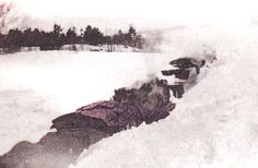 The New York Central Train was buried up to its snowstack in Redwood's blizzard of March 1947. Redwood, NY.