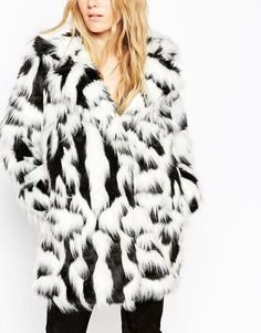 Image 3 of ASOS Coat In Mono Faux Fur