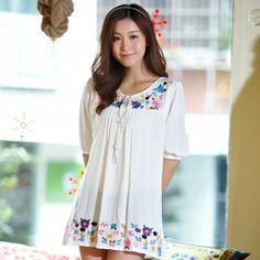 Women Spring 2014 National Trend Roupa Embroidery Flower Half Sleeve Cotton Gypsy Blouses & Shirts Blusas Cigana Femininas Tops $18.79