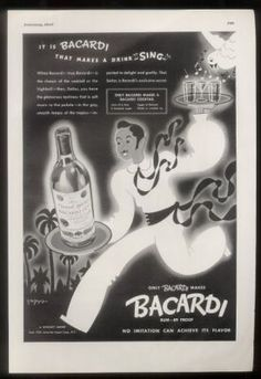 This is an original 1944 print ad for Bacardi Rum! If you've seen print ads used in set decoration for TV shows or films, you've likely seen our ads. Viva Cuba, Cuban Culture, Bacardi Rum, Vintage Prints, Vintage Ads, Cuban Art, Havana Nights, Cuban Cigars, Print Ads