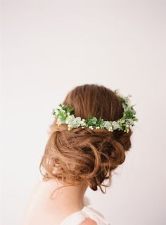 Soft up-style with floral garland - Corbin Gurkin Photography