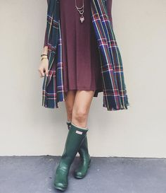 Dress up your wellies with a simple dress & a cozy cardigan.