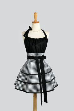 Black and White Gingham Vintage Style Retro Apron