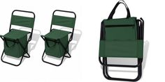 Portable Camping Picnic Stools Folding Beach Chair Set Backrest Seat Cooler Bag
