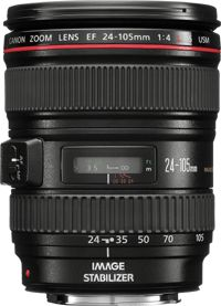 The EF 24-105mm f/4L IS USM offers a 4.3x zoom ratio, from wide angle to medium telephoto. It is highly portable, weighing just 670g.