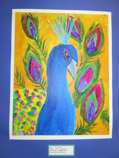 "3rd grade peacock portrait in acrylic on canvas board, 16"" X 20""; lesson by art teacher: Susan Joe"