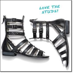 mark. FIGHT FOR STYLE SANDALS Elevate your spring looks with these gladiator sandals and their trademark climbing, leg-wrapping straps. In black with hematite studs, they edge out the competition. Faux leather. http://jgoertzen.avonrepresentative.com/