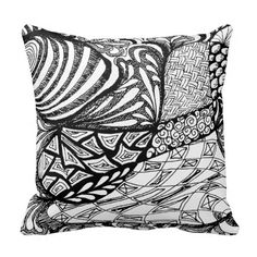 Zentangle in Pen & Ink Throw Pillows