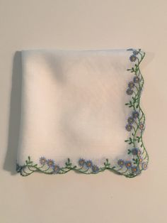 Vintage White Handkerchief with Blue Floral by DartmouthHill