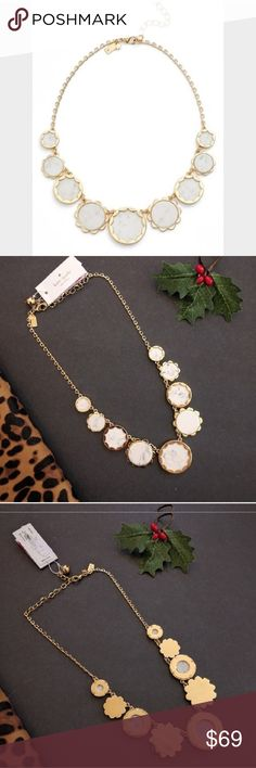 """New Kate Spade Punchy Petals Bib Necklace Like gilded petals, gleaming scallops trim discs of semiprecious Howlite stone, softening a statement-making bib necklace plated in 12-karat gold. 17"""" length; 3"""" extender; 1 1/4"""" drop. Lobster clasp closure. 12k-gold plated By kate spade new york; kate spade Jewelry Necklaces"""