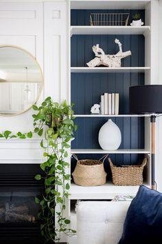 Design by Craftberry Bush / Blue Bookshelves, Painted Bookshelves, Blue Shelves, Bookcases, Painted Shelving, Custom Shelving, Decoration Bedroom, Home Decor Bedroom, Living Room Decor