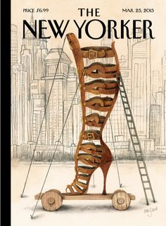 """Cover of the March 25, 2013 issue. Click-through for the story behind """"Art and Architecture,"""" by the artist Ana Juan, plus a slideshow of the fashion that has inspired Juan: http://nyr.kr/YBpQWM"""