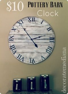 DIY $10 Pottery Barn Copy of their 300 Dollar Wood Clock ! Easy Excellent Tutorial
